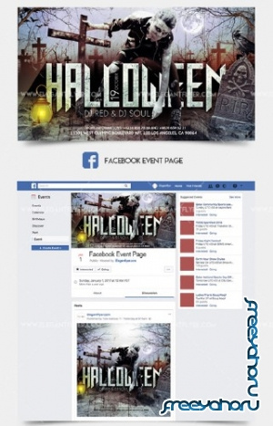 Halloween V30 2018 Facebook Event + Instagram template + Youtube Channel Banner