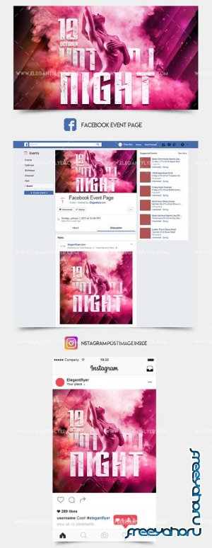 Hot Dj Night V1 2018 Facebook Event + Instagram template + Youtube Channel Banner