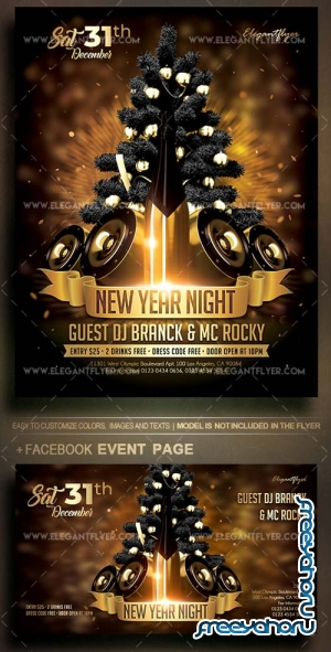 New Year Night V11 2018 Flyer PSD Template