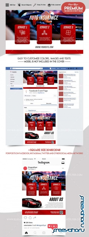 Auto Insurance V1 2018 Facebook Event + Instagram template