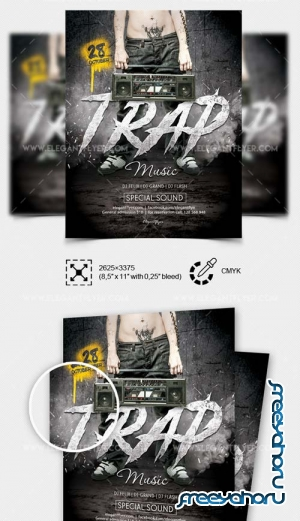 Trap Music V1 2018 Flyer PSD Template
