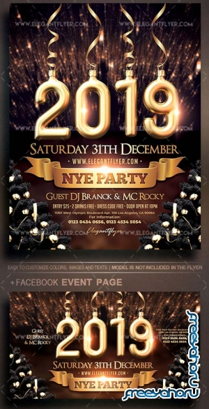2019 NYE Party V1 2018 Flyer PSD Template