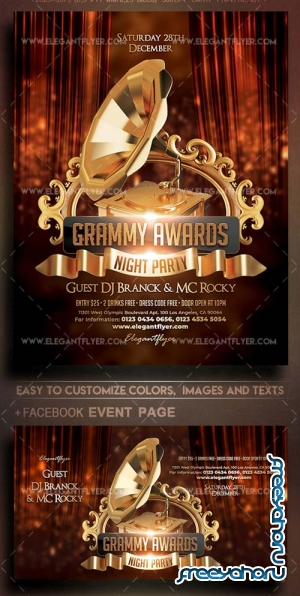 Grammy Awards Night Party V1 2018 Flyer PSD Template