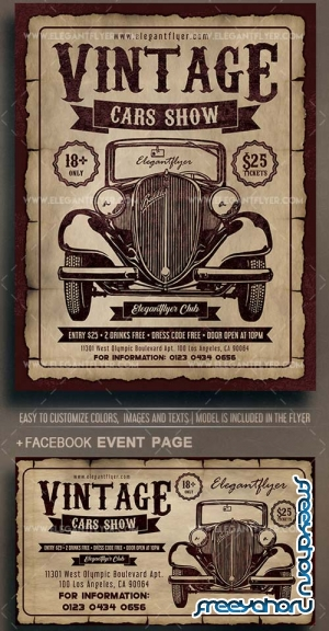Vintage Cars Show V5 2018 Flyer PSD Template