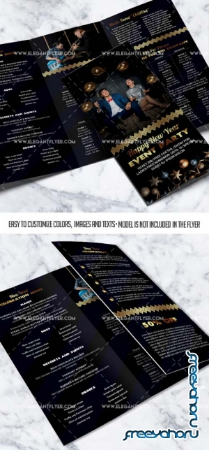 New Year Event V36 2018 PSD Tri-Fold Brochure Template
