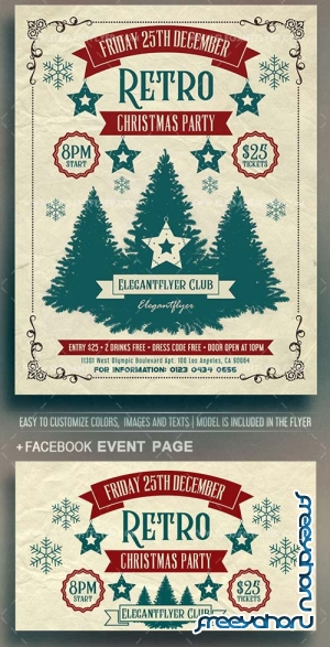 Retro Christmas Party V38 2018 Flyer PSD Template