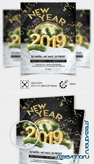 New Year Party V52 2018 Flyer in PSD