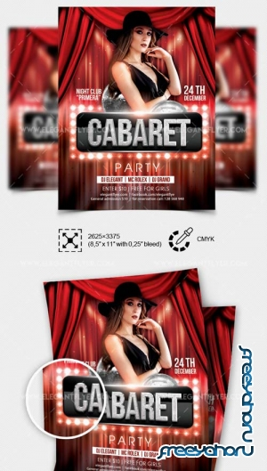 Cabaret Party V12 2018 Party Flyer Template in PSD
