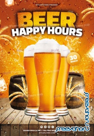 Beer Happy Hours V1 2019 PSD Flyer Template