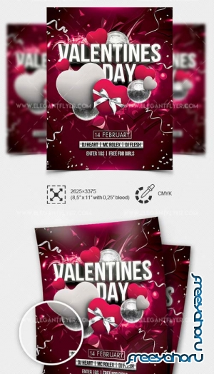 St. Valentine's Day Party V12 2019 Flyer Template PSD + Facebook Cover + Instagram Post