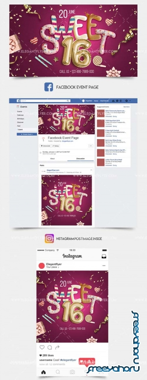 Sweet 16 Party V1 2019 Facebook Post + Instagram Story + YouTube Channel Banner