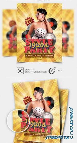1920s Style Party V1 2019 Flyer PSD Template + Facebook Cover + Instagram Post