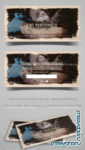Tattoo Salon V1 2019 Gift Certificate Template in PSD