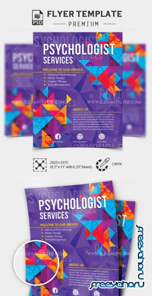 Psychologist Services V1 2019 PSD Flyer Template + Facebook Cover + Instagram Post