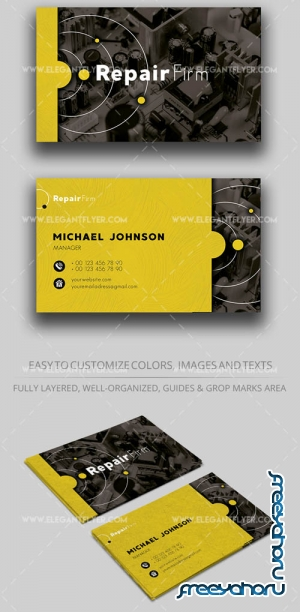 Repair of equipment V1 2019 PSD Business Card Template
