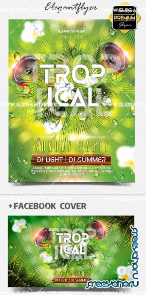 Tropical Sunday V1 2019 Flyer PSD Template + Facebook Cover + Instagram Post