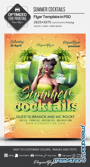 Summer Cocktails V11 2019 PSD Flyer Template