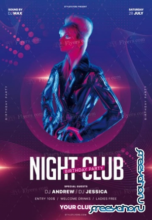 Night Club Birthday Party V30 2019 PSD Flyer Template