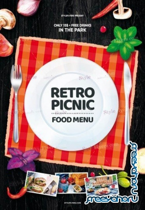 Retro Picknick Food Menu V16 2019 PSD Flyer Template