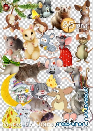 Мыши и крысы png - Mice and rats on a transparent background