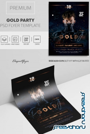 Gold Party V2309 2019 Premium PSD Flyer Template