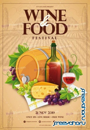 Wine & Food Festival V3010 2019 PSD Flyer Template