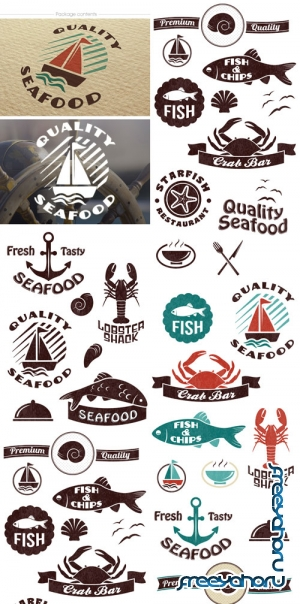 Super premium logo builder - Seafood - Stock Vector