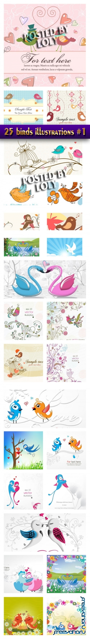 25 birds illustrations V1 - Stock Vector