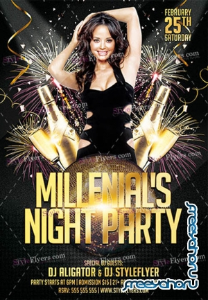 Millenials Night Party V0911 2019 PSD Flyer Template