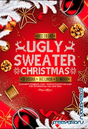 Ugly Sweater Christmas V2611 2019 Premium PSD Flyer Template
