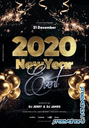 2020 New Year Eve V1612 2019 PSD Flyer Template