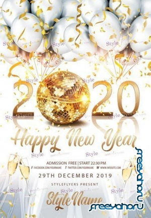 2020 Happy New Year  V2912 2019 PSD Flyer Template