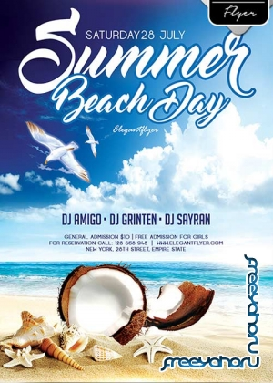 Summer Beach Day Flyer V1 PSD Template + Facebook Cover