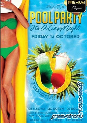Pool Party It's a Crazy Night V1 Flyer PSD Template + Facebook Cover