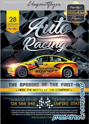 Auto Racing V2 Flyer PSD Template + Facebook Cover