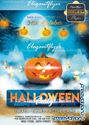 Halloween party 2017 V20 Flyer PSD Template + Facebook Cover