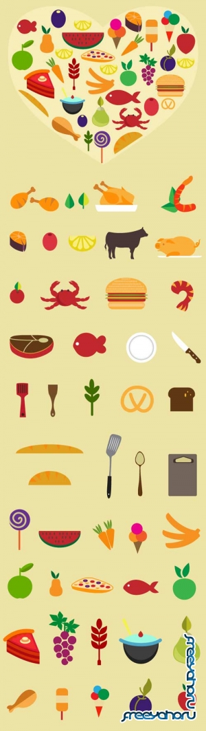 Food flat vector elements #1 - Stock Vector