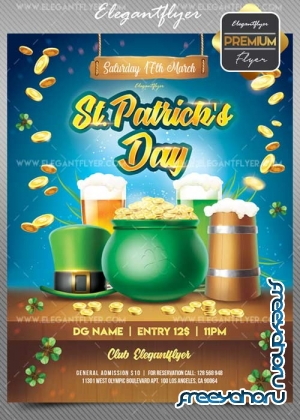 St. Patrick Day V18 2018 Flyer PSD Template + Facebook Cover