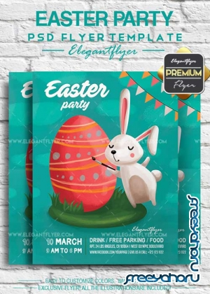 Easter Party V10 2018 Flyer PSD Template + Facebook Cover