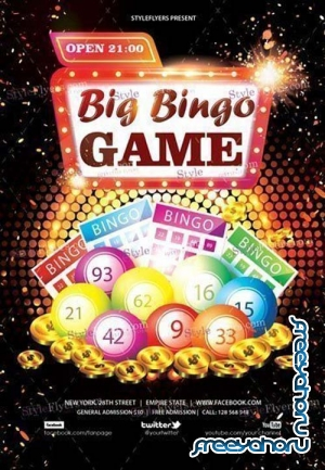 Big Bingo Game V18 2018 PSD Flyer Template