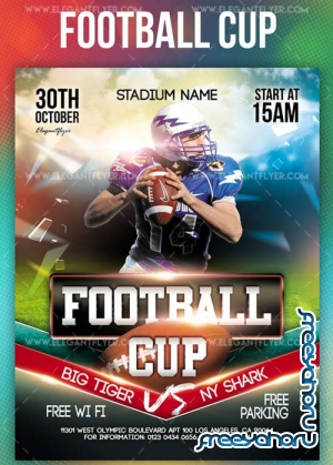 Football Cup V33 2018 Flyer PSD Template + Instagram template