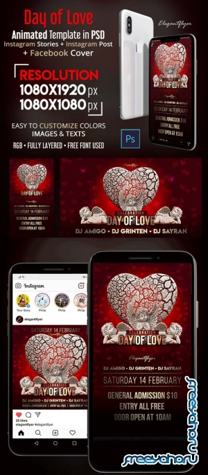 Day of Love V1 2019 Animated Instagram Stories + Instagram Post + Facebook Cover