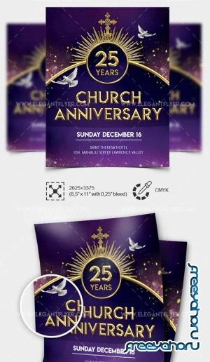 Church Anniversary Flyer V7 2019 PSD Template + Facebook Cover + Instagram Post