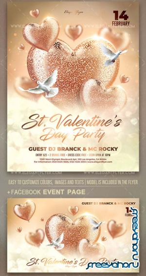 St. Valentine's Day Party V9 2019 Flyer Template PSD + Facebook Cover + Instagram Post