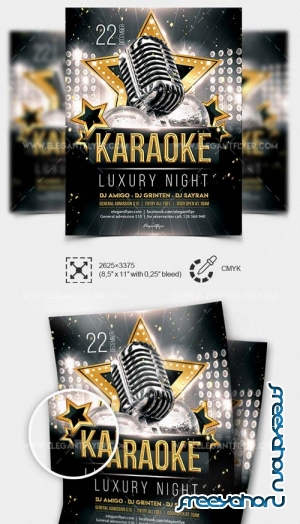 Luxury Karaoke Night V1 2019 PSD Flyer Template + Facebook Cover + Instagram Post
