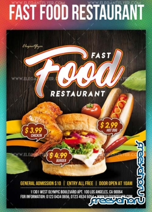 Fast Food Restaurant V1 2019 PSD Flyer Template + Facebook Cover + Instagram Post