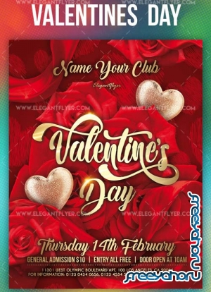 Valentines Day V18 2019 Flyer Template PSD + Facebook Cover + Instagram Post
