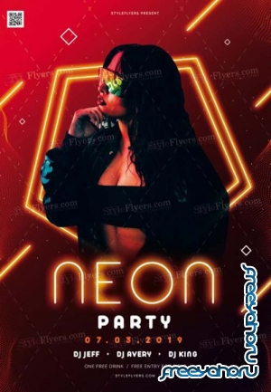 Neon Party V2 2019 PSD Flyer Template