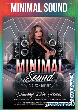 Minimal Sound V5 2019 PSD Flyer Template + Facebook Cover + Instagram Post