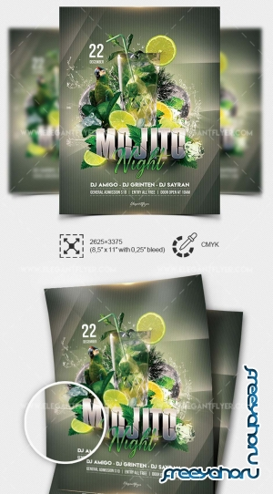 Mojito Party V5 2019 PSD Flyer Template + Facebook Cover + Instagram Post